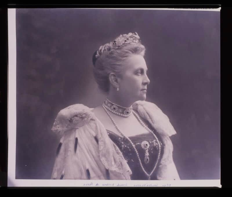 My grandmother, Queen Olga of Greece, wearing her famous diamond and ruby parure.