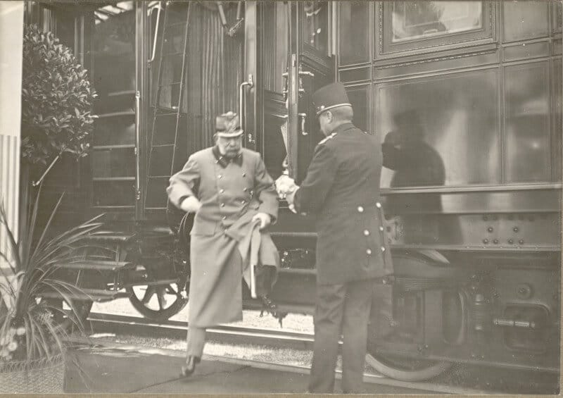 Emperor Franz Joseph leaving his train.